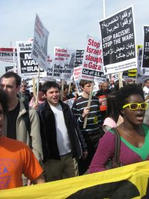 Protesters march in Washington, D.C., to mark the sixth anniversary of the invasion of Iraq