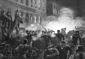 Engraving of the scene at Haymarket Square in 1886