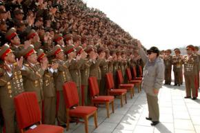 North Korean leader Kim Jong-il greets troops