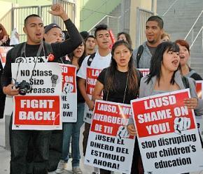 Los Angeles teachers picket before school on May 15