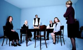 A production of Seven Jewish Children by the Rude Guerilla theater company in Los Angeles