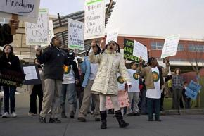 Students, parents and teachers protest against threatened school closures in Seattle