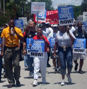 Marching for the Employee Free Choice Act in Jacksonville, Florida