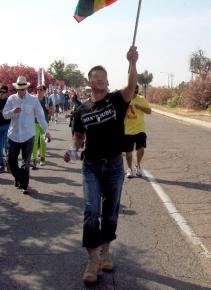 "Lt. Dan Choi, another victim of the Pentagon's ""don't ask, don't tell"" program, marches for equality in Fresno"