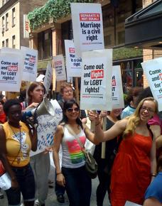 Marching in the 2009 LGBT Pride celebration in New York City