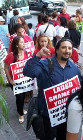 UTLA members picket an LAUSD Board meeting in May