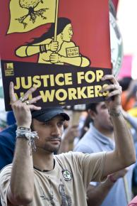 Marching for immigrant rights in Washington, D.C., on May Day 2009