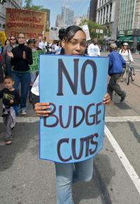 Marching against the California budget cuts in San Francisco