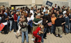 Protesters kiss as part of the Great Nationwide Kiss-In