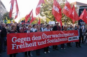Supporters of the Left Party march in Berlin