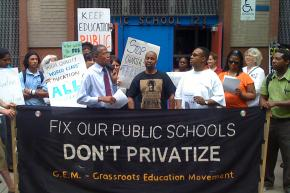 Parents and teachers protest privatization outside P.S. 123 in Harlem
