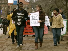 Striking members of the Graduate Employees Organization at the University of Illinois at Urbana-Champaign