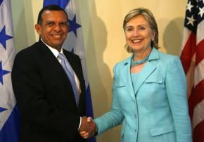 Porfirio Lobo, elected president of Honduras in a vote rigged by the coup regime, meets Hillary Clinton