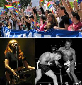 Clockwise from top: National Equality March, Sugar Ray Robinson in the ring, and Neko Case