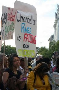 Teachers and community members protesting Rhee's October layoffs