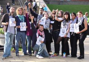 Student members of the growing movement to boycott Israel