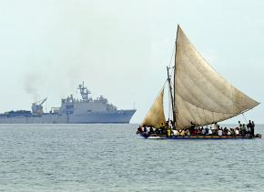 U.S. Navy ship off the coast of Haiti after the earthquake