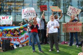 Fresno State protesters demonstrating against budget cuts and furloughs last October
