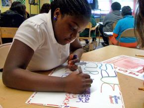 Student in a San Francisco school prepare for a speakout later in the day