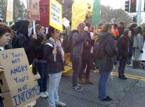 Students demonstrate at one of the entrances to UC Santa Cruz