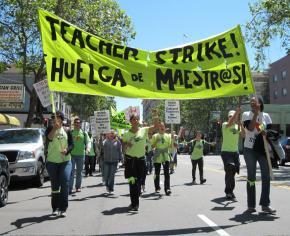 Teachers in the Oakland Educators Association on strike