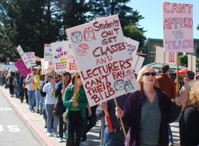 Faculty, staff and students picket San Francisco State University during the March 4 Day of Action