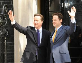 Britain's new Prime Minister David Cameron and Deputy Prime Minister Nick Clegg outside 10 Downing Street