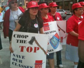 Thousands of teachers, students and supporters flooded downtown Chicago to protest cuts to the public schools