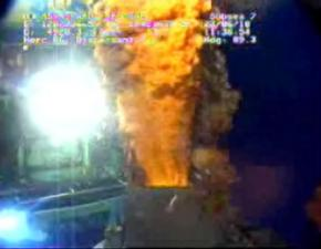 Oil gushing from the broken BP Deepwater Horizon oil rig