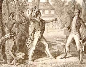 A 19th century drawing depicting Tecumseh facing Gen. W.H. Harrison