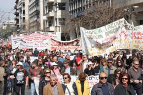 Greek workers on the march in Athens
