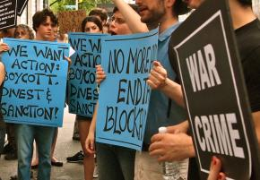 Students in New York take part in a global day of action for boycott, divestment and sanctions against Israeli apartheid