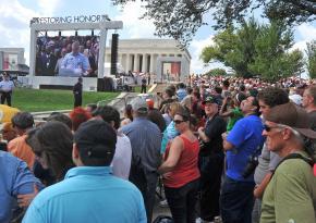 Glenn Beck speaks from the steps of the Lincoln Memorial in Washington, D.C.