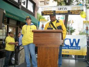Members of UFCW Local 1500 in New York City announce the settlement of their new contract in July