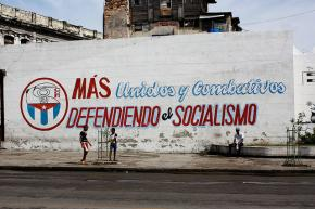 A mural in Havana proclaiming united defense of Cuban socialism