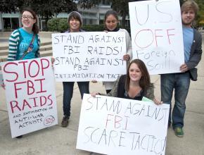 Students protest the recent FBI raids on activists' homes in Minnesota, Illinois and North Carolina