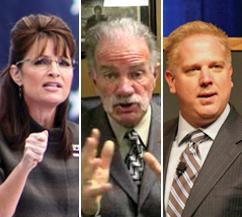 Islamaphobic provocateurs Sarah Palin, Pastor Terry Jones and Glenn Beck