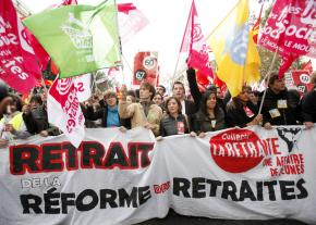 "Workers and students march through Paris during a day of action against pension ""reform"" in mid-October"
