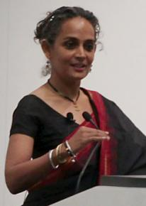 Arundhati Roy speaking during a visit to the U.S. last spring