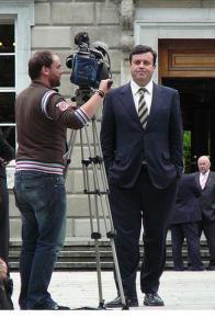 Dublin Finance Minister Brian Lenihan poses for the cameras