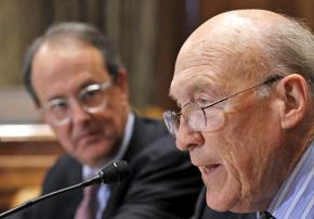 Alan Simpson (right) with Erskine Bowles, co-chairs of the deficit reduction commission