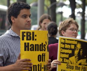 A Washington, D.C., protest against FBI raids on antiwar and international solidarity activists