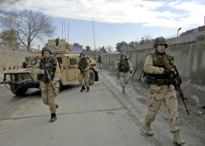 U.S. troops respond to an explosion in Kabul
