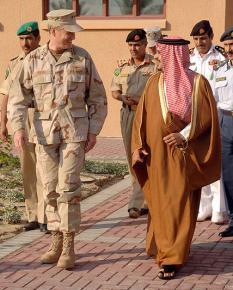 Bahrain's Crown Prince Salman bin Hamad bin Isa Al-Khalifa with the head of U.S. Naval Central Command Patrick Walsh