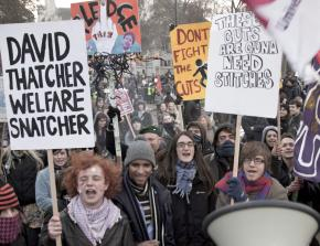 Protests in London on the day of parliament's vote on increased student fees