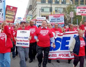 Government workers march against the attacks on their unions in Albany, N.Y.