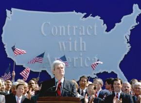 "Newt Gingrich and fellow Republicans announce their ""Contract with America"""