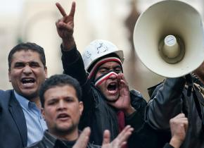 Demonstrators continued a blockade around the parliament building in Cairo
