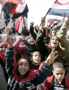 Crowds gathered outside the state television building to celebrate the downfall of Hosni Mubarak