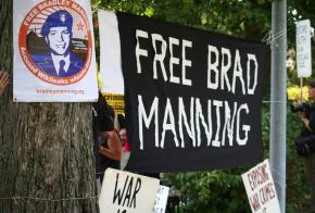 Demonstrators gathered in Quantico, Va., to protest the torture of Bradley Manning